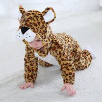 Winter Flannel Cute Baby' s Leopard Costume Rompers Todd...