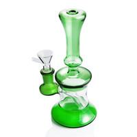 7 '' große Mini-Becher-Bongs aus grünem Glas mit Inline-Perc Dab Rig Wasserpfeifen Wachs-Ölplattformen Kleiner Bubbler