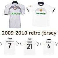 2009 2010 Valência Retro CF Futebol Jersey 90th Aniversário David Villa Mata David Silva Zigic Banega Camisa de Futebol Vintage Camiseta