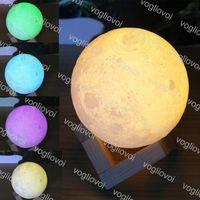 Noite luzes lâmpada de lua impressão 3d 10cm 12cm 13cm 15cm 18 cm 20 cm luz mágica USB recarregável 3500K 6500K iluminação interna para quarto cafe loja dhl