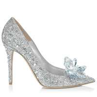 Top Grade Cinderella Crystal Shoes Bridal Rhinestone Wedding Shoes With Flower Genuine Leather Big Small Size 33 34 To 41