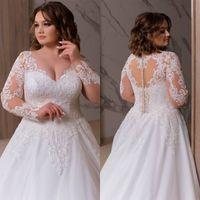 2020 плюс размер богемные свадебные платья V шеи аппликации с длинными рукавами кружева свадебное платье рюша