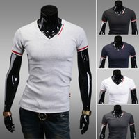 Atacado-New Casual Mens Slim Fit V-neck Manga Curta T-Shirt Tops Blusa Tee Drop Shipping 16532