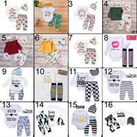 Çocuklar giysi tasarımcısı kızlar Romper Noel hollowen Kıyafet ROMPER Çocuk Boy Kızlar 3 Parça set T gömlek + Pantolon + Şapka Bebek çocuk Giyim setleri