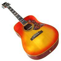 뼈 너트 / 안장, 다채로운 픽 가드, 노란색 / 흰색 바인딩이있는 41 인치 어쿠스틱 기타, 사용자 정의 가능