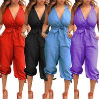 Frauen Designer Sommer Overalls Strampler sexy Club Capris tiefem V-Ausschnitt Hosenträger rückenfrei Verband Lace-up Overalls Bodysuits heißer Verkauf 107