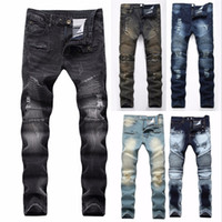 2018 Moda Hip Hop Patch Hombres Retro Jeans Rodilla Agujero Rap Zipped Biker Jeans Hombres sueltos Slim Destroyed Ras Ripped Denim Man # 345582