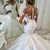 Real Beautiful Mermaid Wedding Desles Dream Boho Country Abiti da sposa in pizzo con manica lunga perline a maniche lunghe Pulsante africano Bridal Gown
