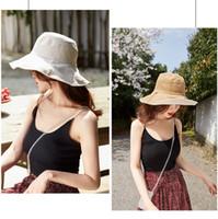 女性ワイドブリム帽子夏の折りたたみ式の夕焼けネット韓国語版汎用屋外日焼け止め綿釣り狩猟キャップ日本の帽子LJJJ8
