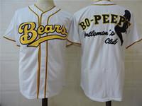 Der Bären-BO-Blick-Film-Baseball Jersey der Männer knöpfen unten weiße genähte Baseballjerseys S-XXXL 100% frei versendender Großverkauf