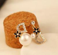 Moda Versión coreana Exquisito Pendientes de perlas Pendientes Joyas Conjunto Con Zircon Lujo Pendientes Asimétricos Temperamento Pendientes Sexy Señoras