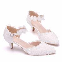 5 cm ayakkabı topuk beyaz / pembe dantel çiçek düğün ayakkabı kayışı gelinin ayakkabı ve gelin ayakkabı için sivri kafa
