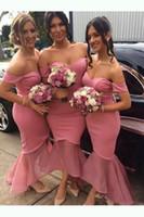 High Low Sereia damas de honra vestidos 2019 novo fora do ombro ruffles sem mangas querida vestidos de casamento vestido de dama de honra feito sob encomenda