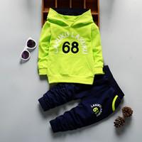 Erkek bebek Kız Giyim Setleri Rahat Erkek Giysileri Eşofman Mektup Kapşonlu Yenidoğan Erkek Giysileri Ceket 1 2 3 4 Yıl J190715