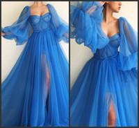 Blue Tulle manches longues Musulman Front Front African Formel Robes Soirée Port de la soirée Zuhair Murad Robes de soirée 2019 Robes de bal sexy Fête E020