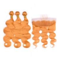 Cuerpo de la onda brasileña del pelo humano 3pcs Bundles de color naranja con naranja puro 13x4 frontal del cordón completo parte libre frontal Cierre 4pcs con Tejidos