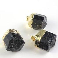 10 قطع غير النظامية الشكل الأسود التورمالين قلادة الحجر مع حبل سلسلة مطلية بالذهب للحزب هدية المجوهرات