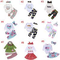 Vêtements pour bébé Automne Et Hiver Manches Longues Lettre Imprimer 100% Coton Ensemble Barboteuses + Pantalon + Bandeau
