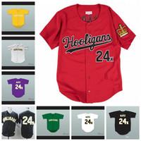 Benutzerdefinierte Bruno Mars 24k Hooligans Weiß Rot Schwarz Purple Jersey Männer Frauen Jugend Baseball Trikots