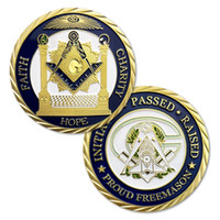 Envío gratis 5 unids / lote, FE, CHARITY HOPE Masonic medals coins, Freemasonry coins collectibles Proud Freemason coins
