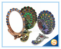 Free Shipping Peacock Metal Hand Cosmetic Mirror Makeup Mirr...