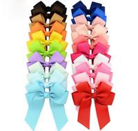 Смешать цвета Bowknot высокого качества Твердые Grosgrain ленты Cheer лук С Аллигатор зажим для волос Boutique Дети Аксессуары для волос A171