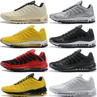 TN 97 Plus Men Running Shoes Fire Red Yellow Core Triple Bla...