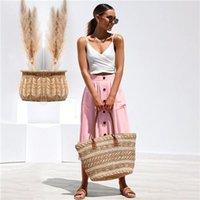 Kadınlar Yaz Tasarımcı Vokta Etekler Düğmesi Moda Eğilim Kadın Gevşek Elbiseler Katı Renk Orta Buzağı Günlük Giyim