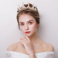 Fashion Korean Crown Tiara Simulated Pearl Rhinestone Headba...