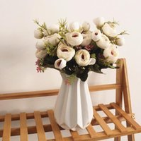 Silk flower 6 fork 9 heads Tea rose flowers Bouquet Artifici...