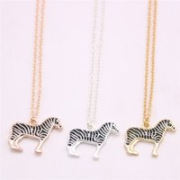 Newest multi- colored lovely zebra pendant necklace Lifelike ...