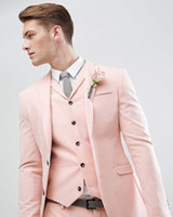 New Pink Slim Fit Wedding Men Suits Groom Tuxedos 3 Pieces (...