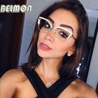 Belmon النظارات البصرية النساء أزياء وصفة طبية النظارات الماس النظارات إطارات شفافة واضحة عدسة عدسة النظارات RS824