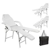 Waco Spa Pedicure Pedicure Facial Łóżko, Meble salonowe, Skórzane Niepoślizgowe Stopy Przenośne Dwukostępne Masaż Stylizacji Tatuaż Terapia Przebijanie Krzesło - Białe