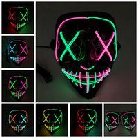 7 개 스타일 할로윈 LED 빛나는 마스크 파티 코스프레 마스크 클럽 조명 바 무서운 마스크 ZZA1200 10PCS