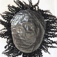 Peruca Cachecol Peruca de cabelo Humano Para Os Homens Afro Encaracolado Peruca Completa Pele Pu Mens Peruca Sistema de Substituição Do Cabelo Natural Pu Dos Homens peruca
