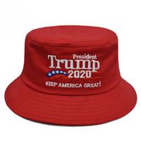 Trump 2020 brodé Capuchon de seau Garder l'Amérique Grand Chapeau Coton Sport Chapeau de pêcheur Mode Voyage Camping Chapeau Soleil TTA896