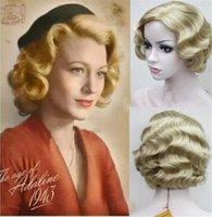 Acessórios de fantasia 9 cores 20s mulheres retrô dedo curto onda encaracolado ondulado pinup perucas elegante vintage wig-estilo peruca halloween cosplay headwe