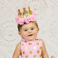 Baby Girl First Birthday Decor Flower Party Cap Corona Headband 1 2 anni Numero Asseria Style Birthday Hat Cappello per bambini Accessori per capelli