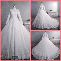 Vestidos de Noiva Braut Kleid 2019 Ballkleid Prinzessin Spitze Muslimische Hochzeitskleid Langarm Vintage Hijab Brautkleid 2019 Bester Verkauf