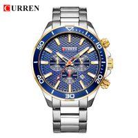 Mens Relógios Top Marca de luxo Fashion Business Quartz aço inoxidável relógio de pulso CURREN Cronógrafo e Data Relogio Masculino