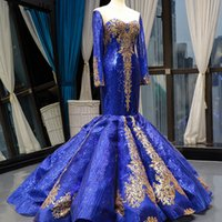 Royal Blue Sequined Mermaid Prom Dresses Luxury Strapless Sheath Evening Gown African Plus Size Backless Formal Party Dress