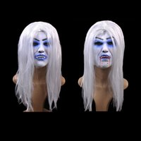 Unisex Bleeding white- haired witch horror mask No odor no po...