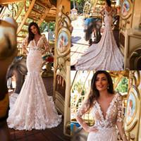 Milla nova sirena vestidos de novia con cuello en v encaje apliqueado medio manga larga país vestido de novia trenes de barrido boho vestido de novia hecho a medida