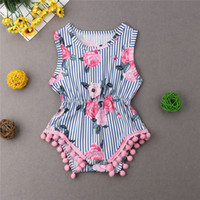 2019 neue Baby Mädchen Kleidung Quaste Strampler Sommer Infant Baby Mädchen Floral Pom Pom Strampler Overall Sunsuit Outfits 0-18 Mt Kinder Boutique