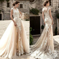 2019 Vintage Mermaid Wedding Dresses With Detachable Train S...