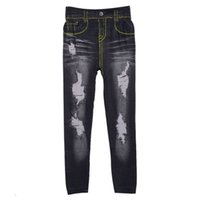 Mujeres denim Pantalones de lápiz de lápiz apretado de mezcla Agujero Jean Legging Pantalones Pantalones Leggings LZH7