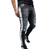 Black Skinny Jeans Men Hip Hop Stripe Ripped Elastic Slim Fit Jeans Male Stretchy Pants