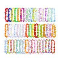 50 sztuk Multicolor Hawajski Naszyjnik Wieńce Laver Flower Garland Luau Party Supplies Wedding Urodziny Dekoracja