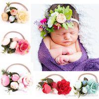 أزياء الطفل زهرة عقال اكسسوارات للشعر الرضع زهرة مرونة هيرباند التصوير الدعائم 6 ألوان وصول جديد